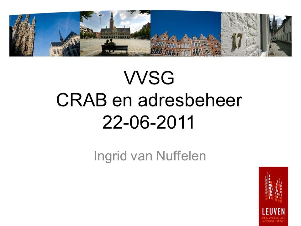 VVSG - adresbeheer Thema's adres: eeuwenoud, springlevend hoofdbrekers, baanbrekers toekomst (CRAB)adres CRAB (BAD_NL): http://www.youtube.com/watch?v=UjNsGua_E3E http://www.youtube.com/watch?v=UjNsGua_E3E