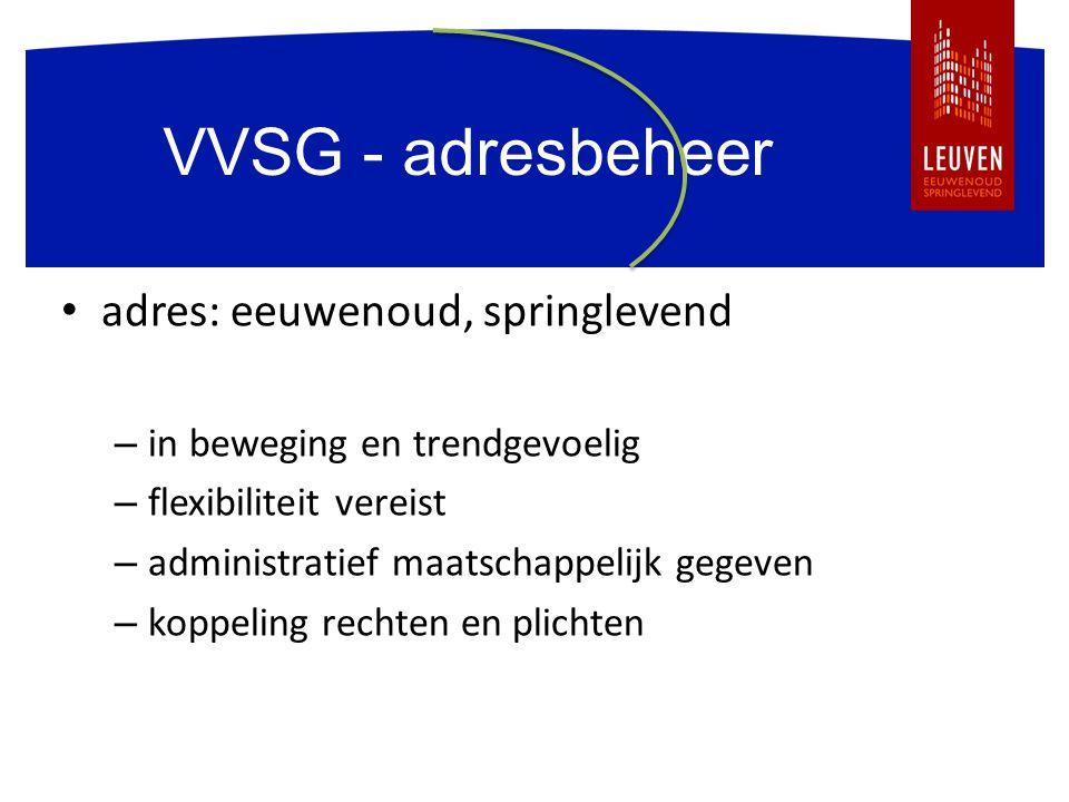VVSG - adresbeheer adres: eeuwenoud, springlevend – in beweging en trendgevoelig – flexibiliteit vereist – administratief maatschappelijk gegeven – ko
