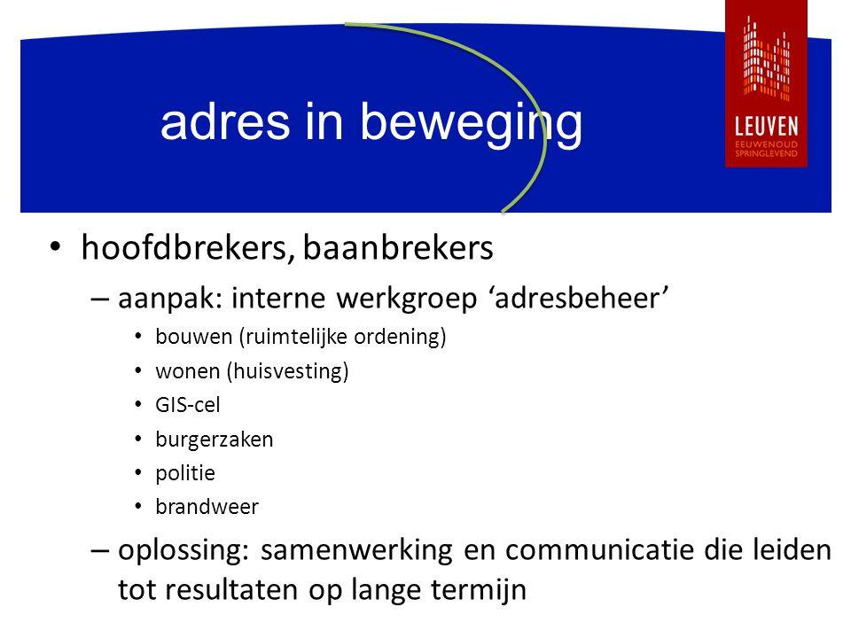 adres in beweging hoofdbrekers, baanbrekers – aanpak: interne werkgroep 'adresbeheer' bouwen (ruimtelijke ordening) wonen (huisvesting) GIS-cel burger