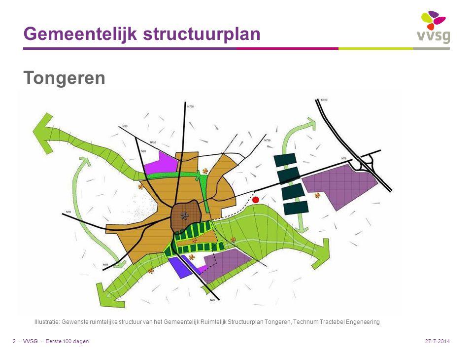 VVSG - Gemeentelijk structuurplan Tongeren Eerste 100 dagen2 -27-7-2014 Illustratie: Gewenste ruimtelijke structuur van het Gemeentelijk Ruimtelijk Structuurplan Tongeren, Technum Tractebel Engeneering