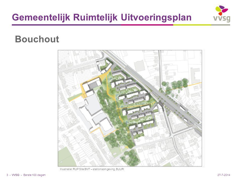 VVSG - Gemeentelijk Ruimtelijk Uitvoeringsplan Eerste 100 dagen3 -27-7-2014 Bouchout Illustratie: RUP Site BMT – stationsomgeving, BUUR