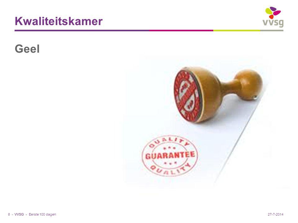 VVSG - Kwaliteitskamer Geel Eerste 100 dagen8 -27-7-2014