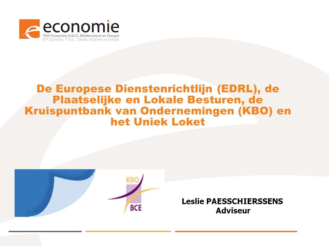 SPF Economie, P.M.E., Classes Moyennes et Energie Inhoud 1.EDRL: opzet en voorschriften – het voorziene KBO instrumentarium en noties 2.KBO: voorstelling en KBO Public en KBO Private Search 3.KBO/EDRL toelatingsaanvraagprocedure (TAP) 4.Plaatselijke en Lokale Besturen: rol vanaf 2010 5.Uniek Loket: een mogelijke tussenpersoon tussen ondernemer en Bestuur 6.Interactie tussen KBO, Uniek Loket en Plaatselijke en Lokale Besturen: flow charts (2 scenario's) 7.KBO select: specifieke bevragingen door Plaatselijke en Lokale Besturen 8.Verder aanpak 9.Nuttige informatie