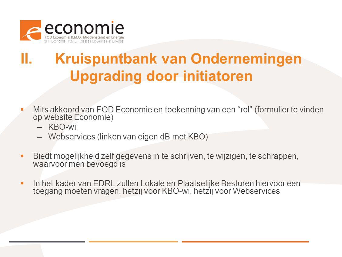 SPF Economie, P.M.E., Classes Moyennes et Energie II.Kruispuntbank van Ondernemingen Upgrading door initiatoren  Mits akkoord van FOD Economie en toe