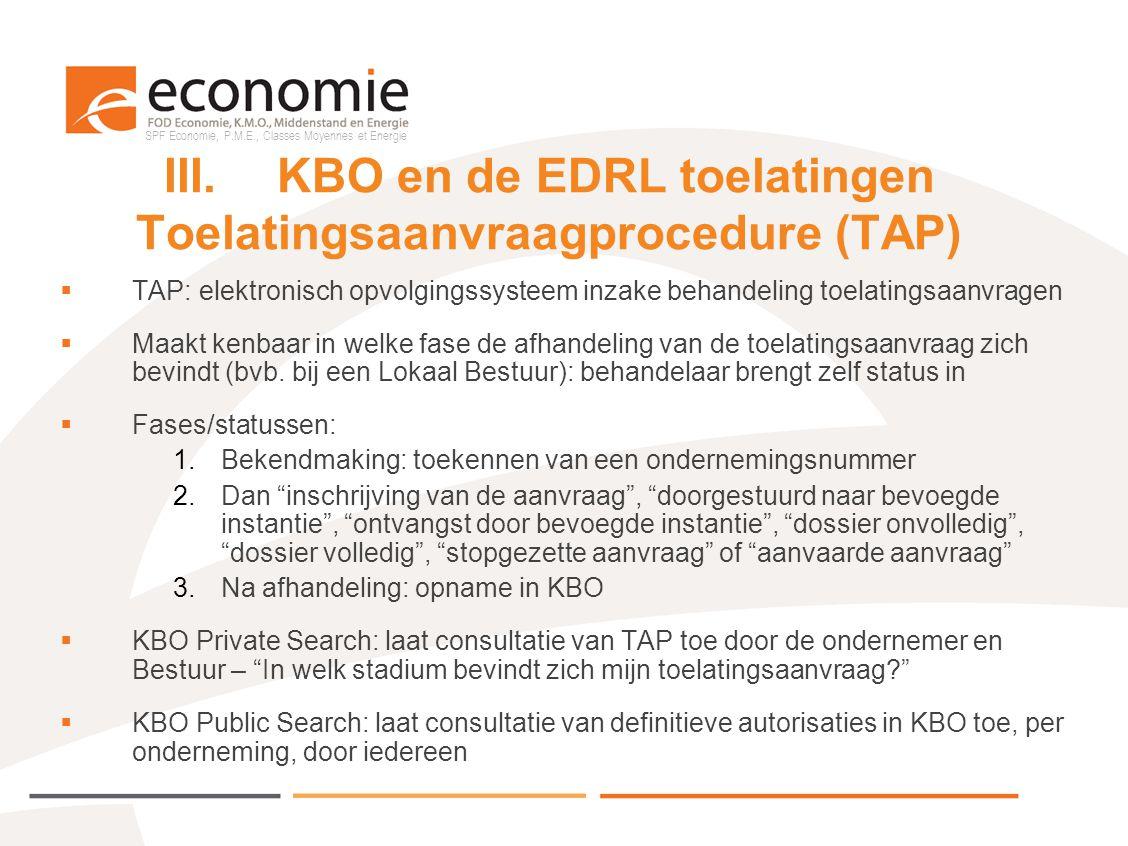 SPF Economie, P.M.E., Classes Moyennes et Energie III.KBO en de EDRL toelatingen Toelatingsaanvraagprocedure (TAP)  TAP: elektronisch opvolgingssyste