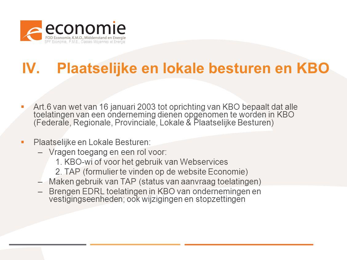 SPF Economie, P.M.E., Classes Moyennes et Energie IV.Plaatselijke en lokale besturen en KBO  Art.6 van wet van 16 januari 2003 tot oprichting van KBO