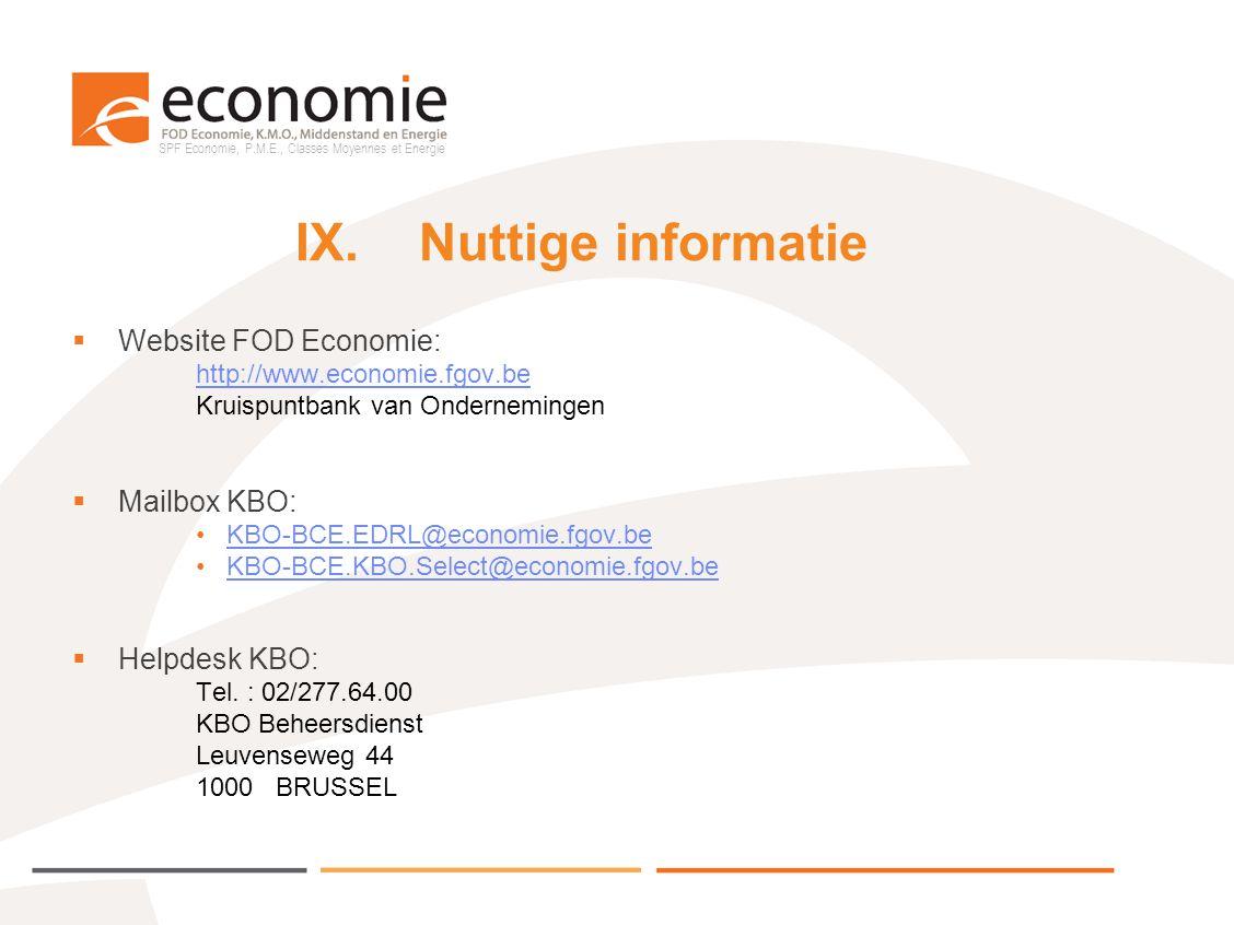SPF Economie, P.M.E., Classes Moyennes et Energie IX.Nuttige informatie  Website FOD Economie: http://www.economie.fgov.be Kruispuntbank van Ondernem