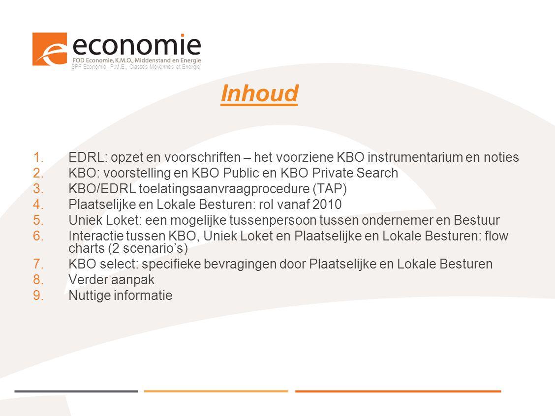 SPF Economie, P.M.E., Classes Moyennes et Energie Inhoud 1.EDRL: opzet en voorschriften – het voorziene KBO instrumentarium en noties 2.KBO: voorstell
