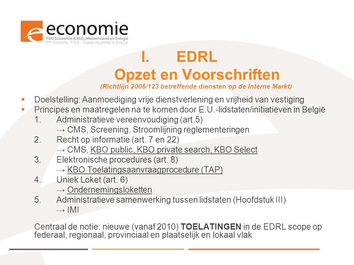 SPF Economie, P.M.E., Classes Moyennes et Energie I.EDRL Opzet en Voorschriften  Doelstelling: Aanmoediging vrije dienstverlening en vrijheid van ves