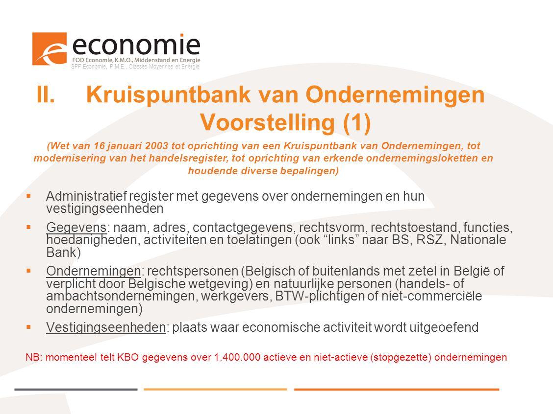 SPF Economie, P.M.E., Classes Moyennes et Energie II.Kruispuntbank van Ondernemingen Voorstelling (1)  Administratief register met gegevens over onde