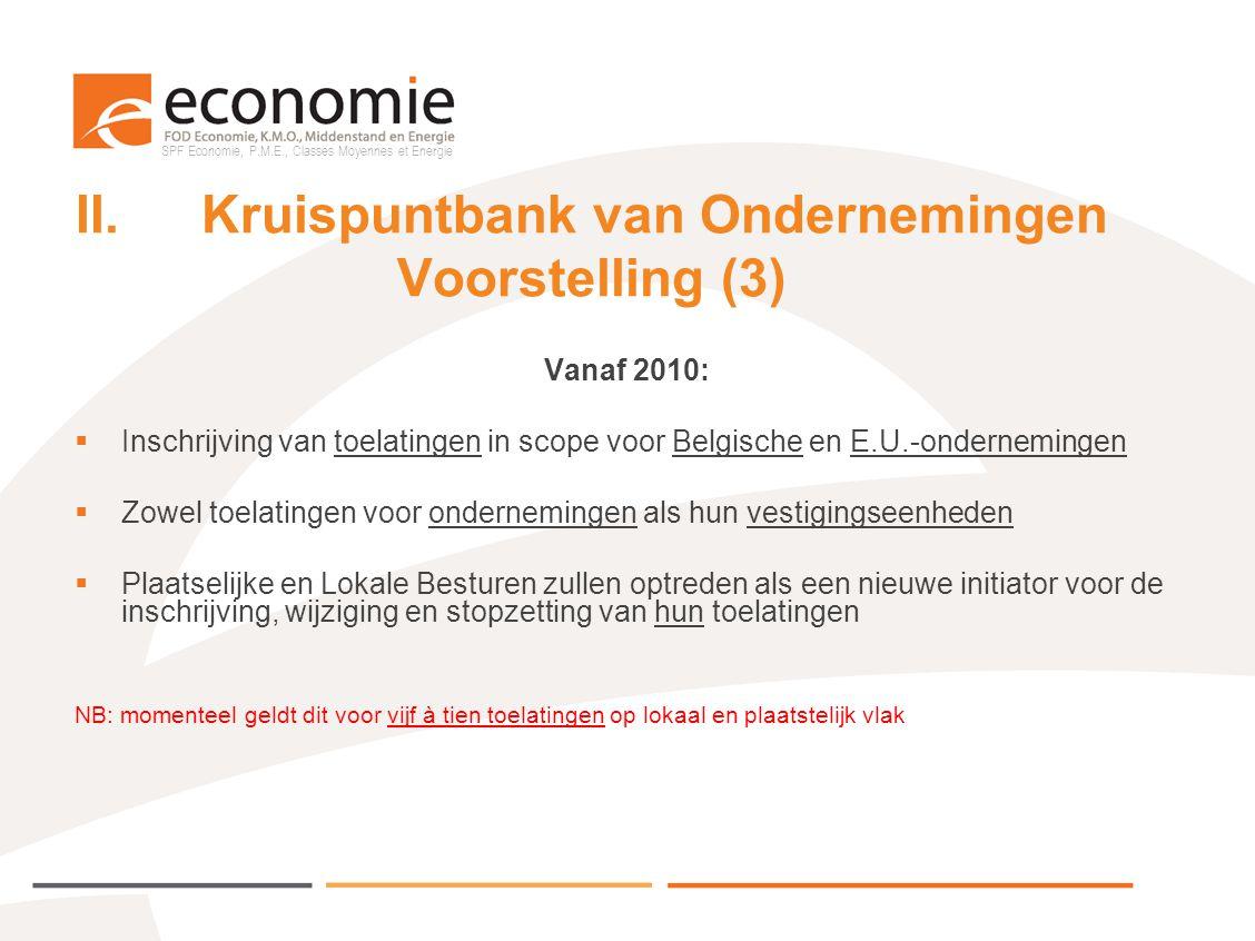 SPF Economie, P.M.E., Classes Moyennes et Energie II.Kruispuntbank van Ondernemingen Voorstelling (3) Vanaf 2010:  Inschrijving van toelatingen in sc