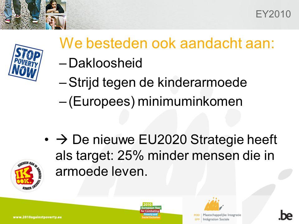 EY2010 We besteden ook aandacht aan: –Dakloosheid –Strijd tegen de kinderarmoede –(Europees) minimuminkomen  De nieuwe EU2020 Strategie heeft als target: 25% minder mensen die in armoede leven.