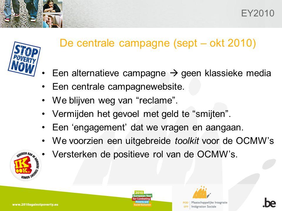 EY2010 De centrale campagne (sept – okt 2010) Een alternatieve campagne  geen klassieke media Een centrale campagnewebsite.