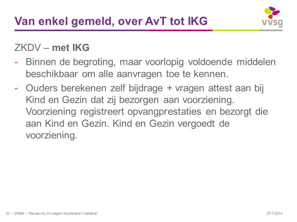 VVSG - Van enkel gemeld, over AvT tot IKG ZKDV – met IKG -Binnen de begroting, maar voorlopig voldoende middelen beschikbaar om alle aanvragen toe te kennen.