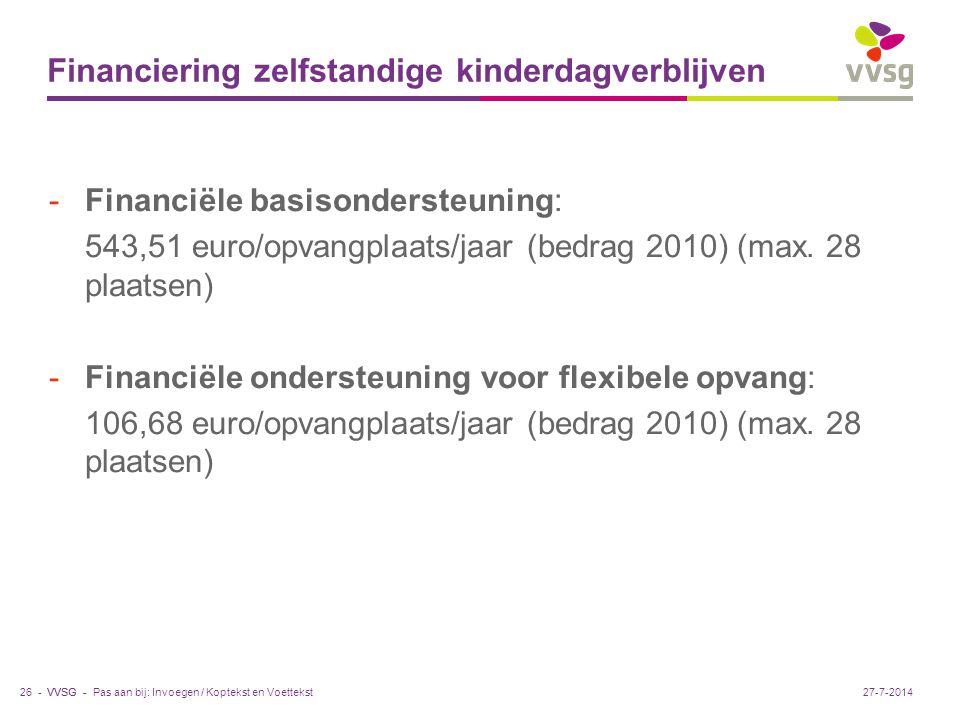 VVSG - Financiering zelfstandige kinderdagverblijven -Financiële basisondersteuning: 543,51 euro/opvangplaats/jaar (bedrag 2010) (max.