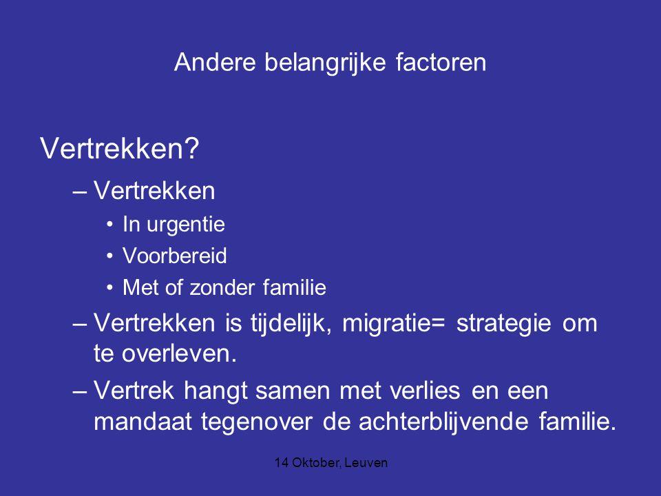 14 Oktober, Leuven Andere belangrijke factoren Vertrekken? –Vertrekken In urgentie Voorbereid Met of zonder familie –Vertrekken is tijdelijk, migratie