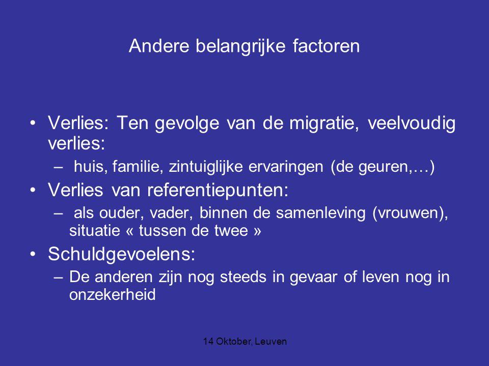 14 Oktober, Leuven Andere belangrijke factoren Verlies: Ten gevolge van de migratie, veelvoudig verlies: – huis, familie, zintuiglijke ervaringen (de