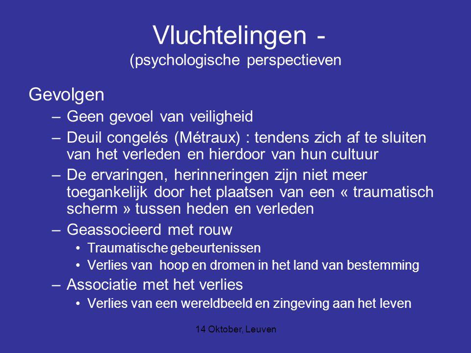 14 Oktober, Leuven Vluchtelingen - (psychologische perspectieven Gevolgen –Geen gevoel van veiligheid –Deuil congelés (Métraux) : tendens zich af te s