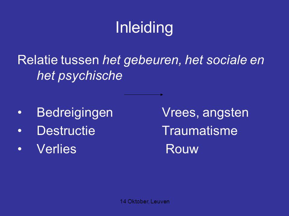 14 Oktober, Leuven Trauma (psychologisch perspectief) Trauma Symptomen : Herbeleven Vermijden Overgevoelig Sociale pathologie, geassociëerd met veelvoudig verlies Neurobiologie –Op het moment van gevaar, vrijkomen van hormonen >stress Activatie van die delen in de hersenen die belangrijk zijn bij het analyseren van situaties.