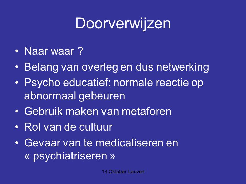 14 Oktober, Leuven Doorverwijzen Naar waar ? Belang van overleg en dus netwerking Psycho educatief: normale reactie op abnormaal gebeuren Gebruik make