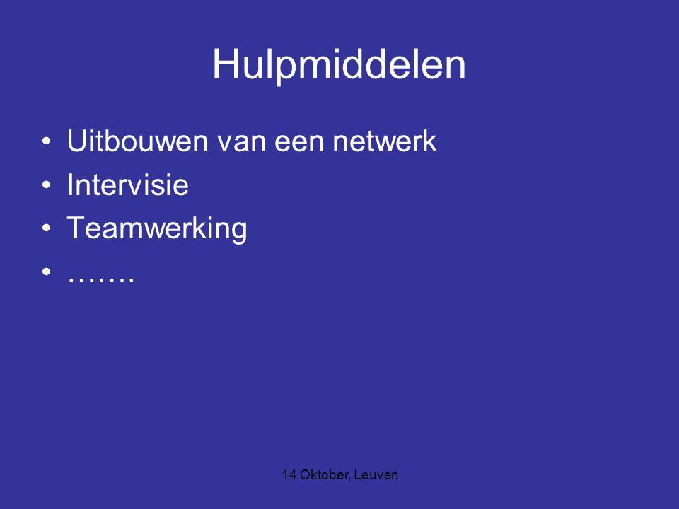 14 Oktober, Leuven Hulpmiddelen Uitbouwen van een netwerk Intervisie Teamwerking …….