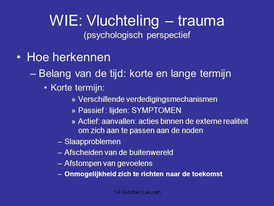 14 Oktober, Leuven WIE: Vluchteling – trauma (psychologisch perspectief Hoe herkennen –Belang van de tijd: korte en lange termijn Korte termijn: »Verschillende verdedigingsmechanismen »Passief : lijden: SYMPTOMEN »Actief: aanvallen: acties binnen de externe realiteit om zich aan te passen aan de noden –Slaapproblemen –Afscheiden van de buitenwereld –Afstompen van gevoelens –Onmogelijkheid zich te richten naar de toekomst