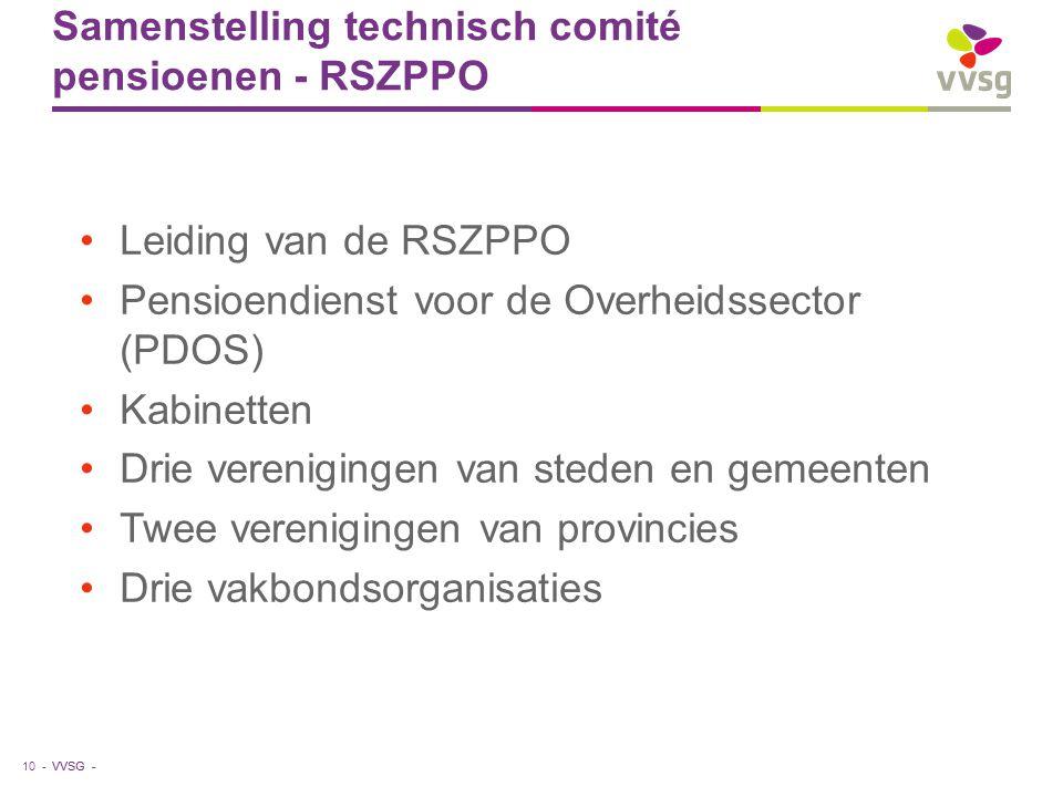 VVSG - Samenstelling technisch comité pensioenen - RSZPPO Leiding van de RSZPPO Pensioendienst voor de Overheidssector (PDOS) Kabinetten Drie verenigi