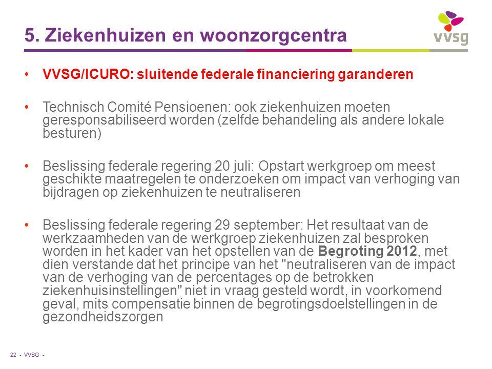 VVSG - 5. Ziekenhuizen en woonzorgcentra VVSG/ICURO: sluitende federale financiering garanderen Technisch Comité Pensioenen: ook ziekenhuizen moeten g