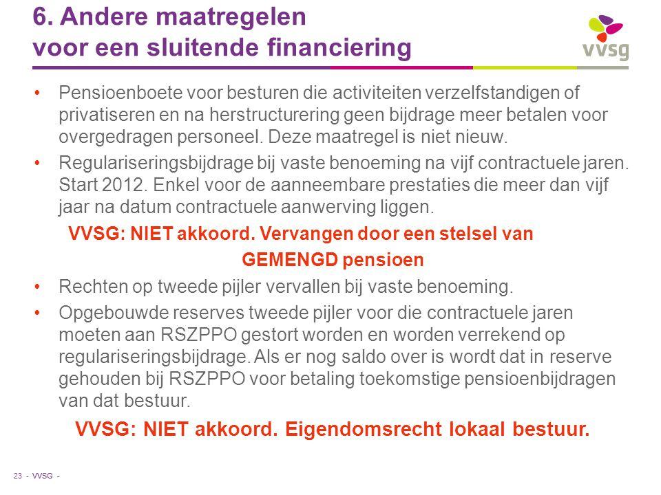 VVSG - 6. Andere maatregelen voor een sluitende financiering Pensioenboete voor besturen die activiteiten verzelfstandigen of privatiseren en na herst