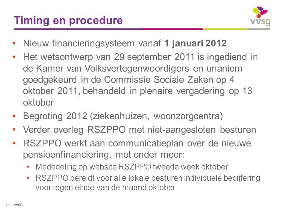 VVSG - Timing en procedure Nieuw financieringsysteem vanaf 1 januari 2012 Het wetsontwerp van 29 september 2011 is ingediend in de Kamer van Volksvertegenwoordigers en unaniem goedgekeurd in de Commissie Sociale Zaken op 4 oktober 2011, behandeld in plenaire vergadering op 13 oktober Begroting 2012 (ziekenhuizen, woonzorgcentra) Verder overleg RSZPPO met niet-aangesloten besturen RSZPPO werkt aan communicatieplan over de nieuwe pensioenfinanciering, met onder meer: Mededeling op website RSZPPO tweede week oktober RSZPPO bereidt voor alle lokale besturen individuele becijfering voor tegen einde van de maand oktober 24 -