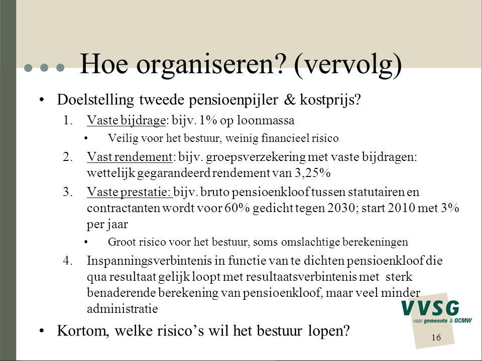 Hoe organiseren.(vervolg) Doelstelling tweede pensioenpijler & kostprijs.