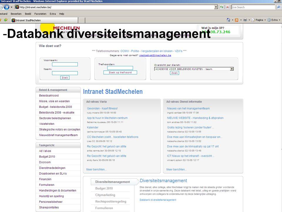 Instrumenten -Databank diversiteitsmanagement -Trajecten -Stuurgroep - - - Congres - Onthaaldag