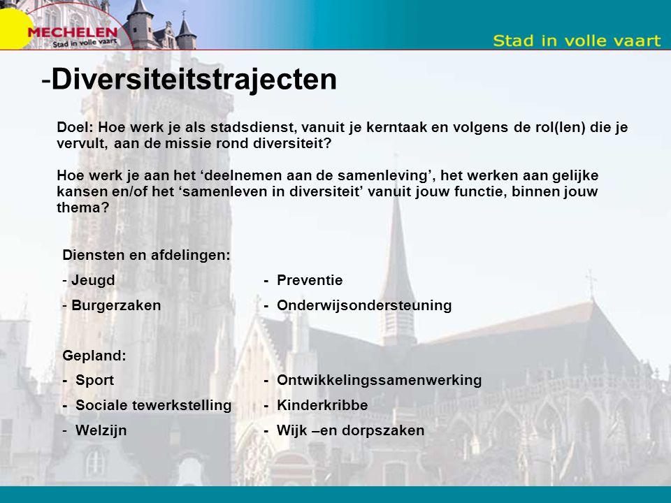 -Diversiteitstrajecten Doel: Hoe werk je als stadsdienst, vanuit je kerntaak en volgens de rol(len) die je vervult, aan de missie rond diversiteit.