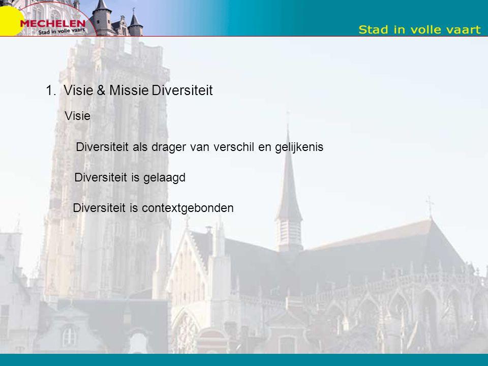 Manier van werken = trechter 1.Visie & Missie Diversiteit 2.Verfijning door diensthoofden en teamchefs 3.Beperkte metaplan met personeelsleden 4.Oefen