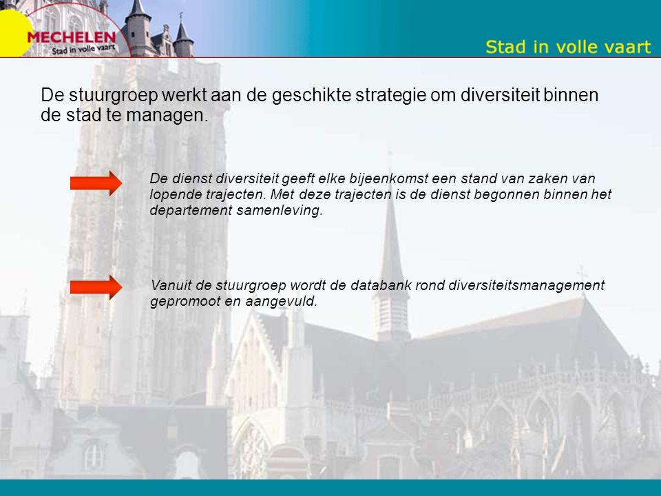 -Stuurgroep diversiteit De stuurgroep geeft de visie en missie van de stad Mechelen rond 'werken aan diversiteit' gedragenheid. De vertegenwoordigers