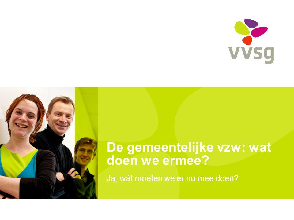VVSG - Structuur uiteenzetting Screening Gemeentelijke vzwGeen gemeentelijke vzw (aanpassen tegen 1-1-2013?) Vzw behouden Afweging Omvormen Geen verzelfst.