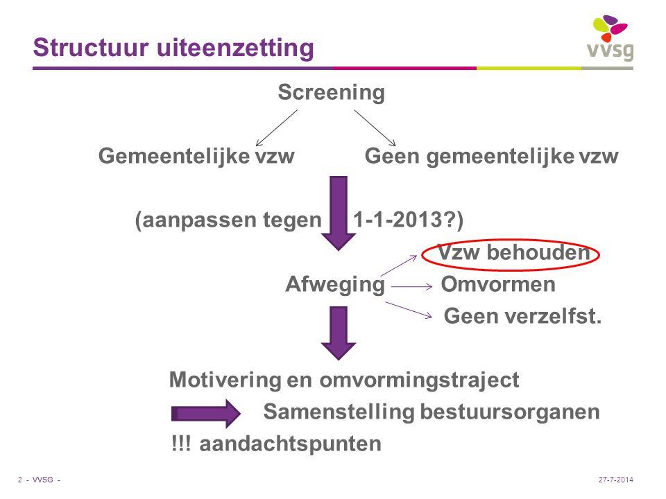 VVSG - Van vzw naar PEVA-vzw e) Samenstelling bestuursorganen (zie verder ) - Onderscheid AV/RvB (cf.