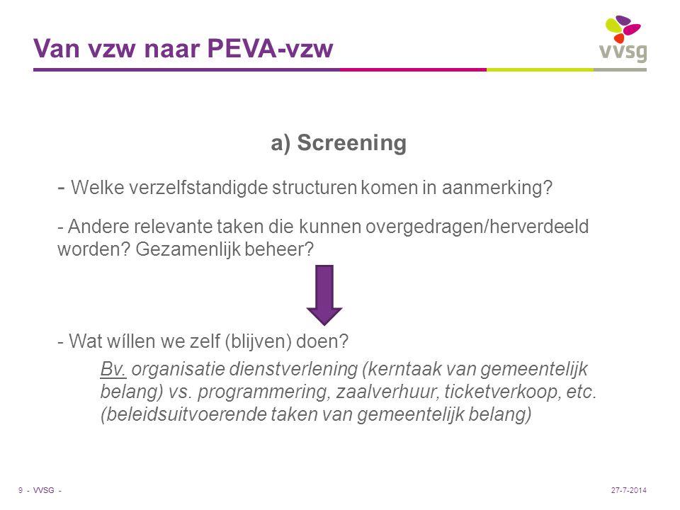 VVSG - Van vzw naar PEVA-vzw b) Afweging - Wat zijn voordelen/nadelen van behoud vzw-vorm.