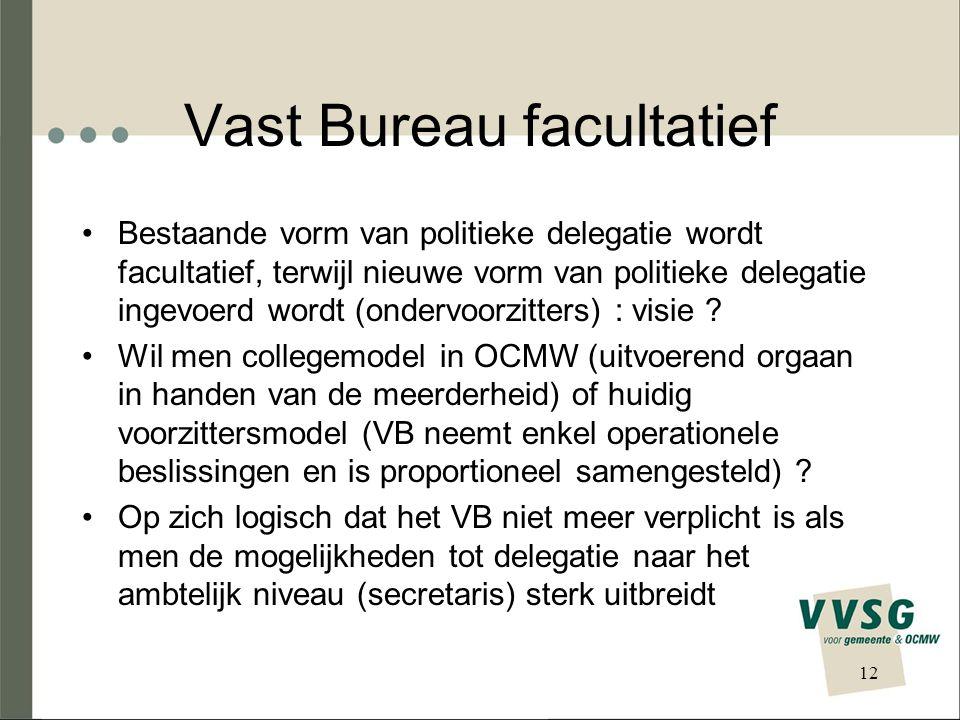 Vast Bureau facultatief Bestaande vorm van politieke delegatie wordt facultatief, terwijl nieuwe vorm van politieke delegatie ingevoerd wordt (ondervoorzitters) : visie .