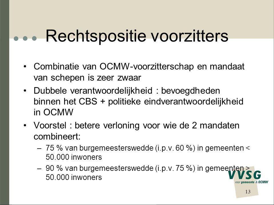 Rechtspositie voorzitters Combinatie van OCMW-voorzitterschap en mandaat van schepen is zeer zwaar Dubbele verantwoordelijkheid : bevoegdheden binnen het CBS + politieke eindverantwoordelijkheid in OCMW Voorstel : betere verloning voor wie de 2 mandaten combineert: –75 % van burgemeesterswedde (i.p.v.