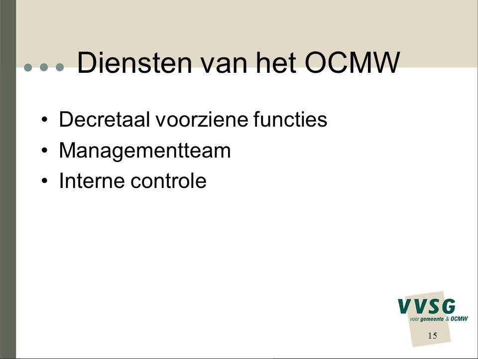 Diensten van het OCMW Decretaal voorziene functies Managementteam Interne controle 15