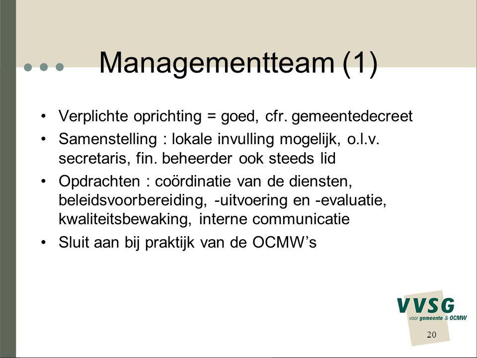 Managementteam (1) Verplichte oprichting = goed, cfr.