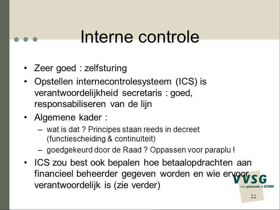 Interne controle Zeer goed : zelfsturing Opstellen internecontrolesysteem (ICS) is verantwoordelijkheid secretaris : goed, responsabiliseren van de lijn Algemene kader : –wat is dat .