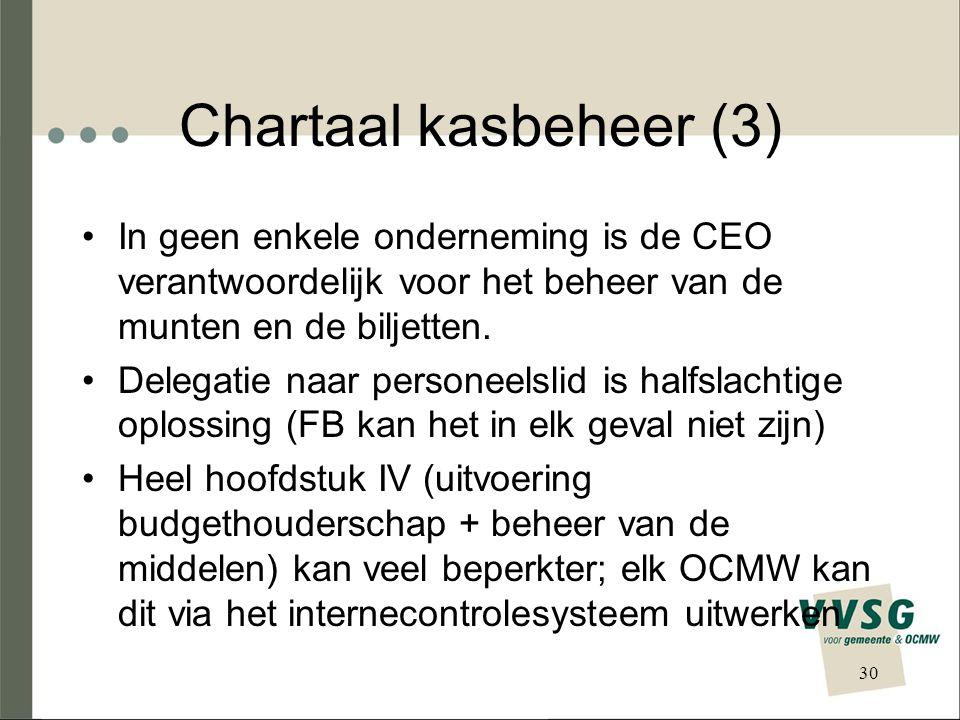 Chartaal kasbeheer (3) In geen enkele onderneming is de CEO verantwoordelijk voor het beheer van de munten en de biljetten.