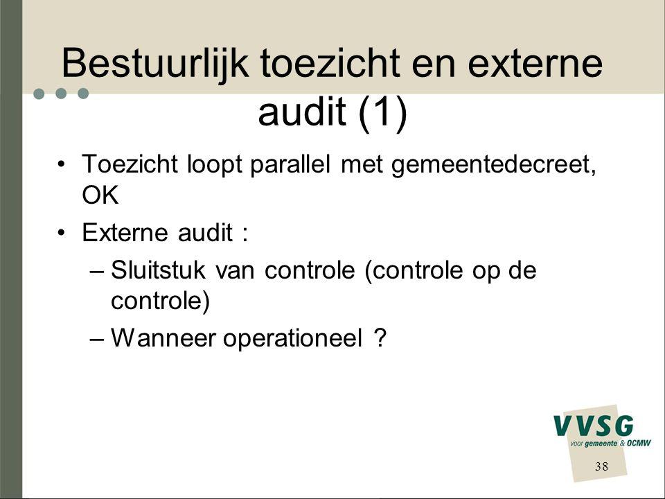 Bestuurlijk toezicht en externe audit (1) Toezicht loopt parallel met gemeentedecreet, OK Externe audit : –Sluitstuk van controle (controle op de controle) –Wanneer operationeel .