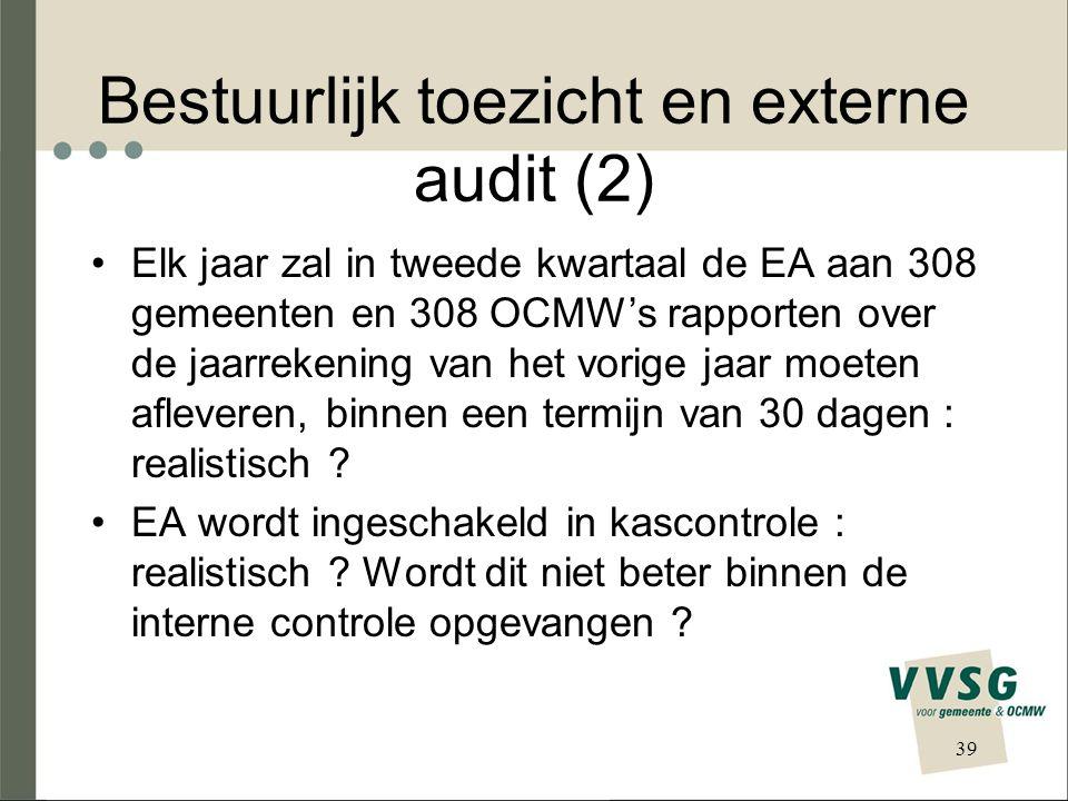 Bestuurlijk toezicht en externe audit (2) Elk jaar zal in tweede kwartaal de EA aan 308 gemeenten en 308 OCMW's rapporten over de jaarrekening van het vorige jaar moeten afleveren, binnen een termijn van 30 dagen : realistisch .