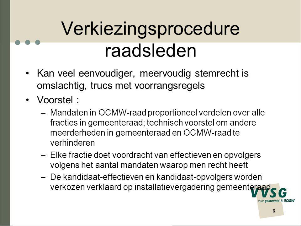Nationaliteitsvereiste raadsleden Voorwaarde Belg zijn schrappen zoals in gemeentedecreet; EU-onderdanen moeten OCMW-raadslid kunnen worden Was vóór het mini-decreet reeds zo (OCMW- wet verwees naar kieswetboek) Probleem : RvState zegt dat decreetgever dit niet kan wijzigen; bij gemeentedecreet is het Vlaams parlement daar over gegaan 9