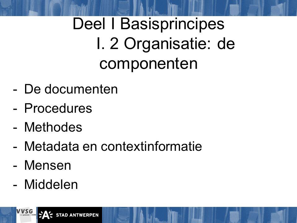 Deel I Basisprincipes I. 2 Organisatie: de componenten -De documenten -Procedures -Methodes -Metadata en contextinformatie -Mensen -Middelen