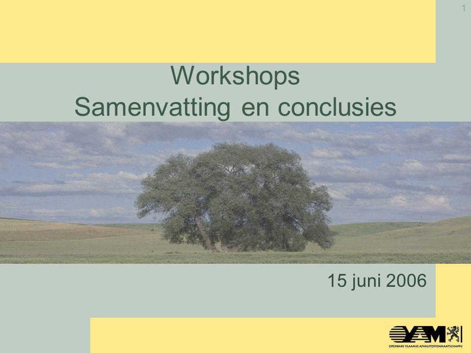 1 Workshops Samenvatting en conclusies 15 juni 2006