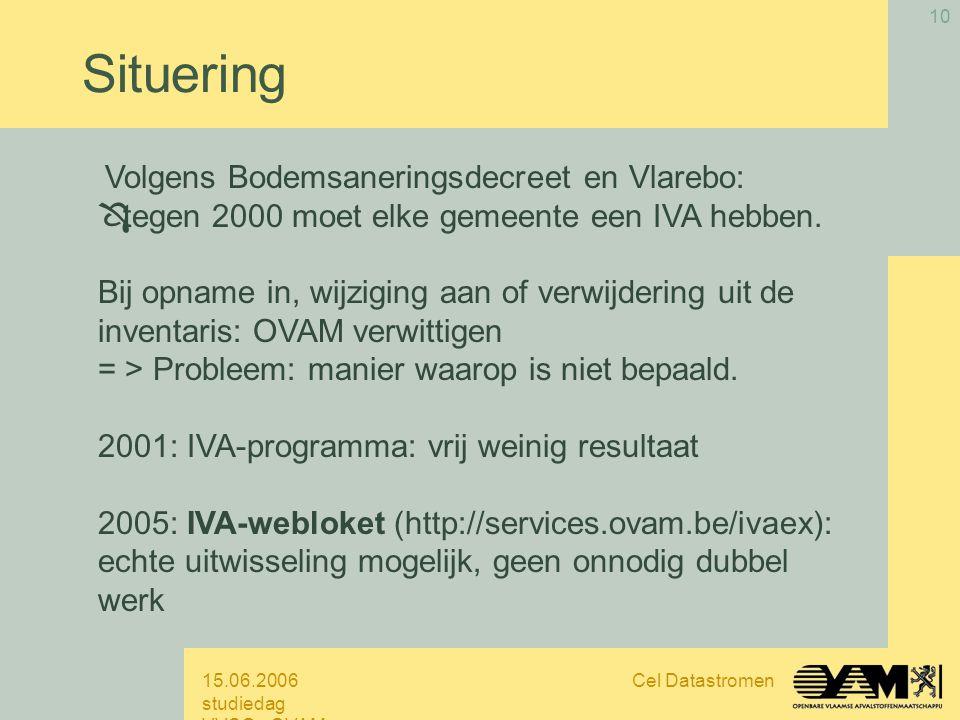 15.06.2006 studiedag VVSG - OVAM Cel Datastromen 10 Volgens Bodemsaneringsdecreet en Vlarebo: Ô tegen 2000 moet elke gemeente een IVA hebben.